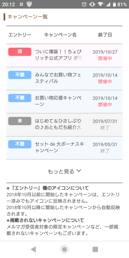 ちょびリッチの公式アプリダウンロードキャンペーン履歴